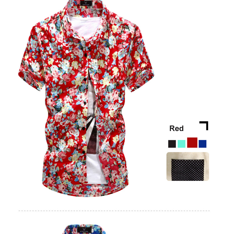 Fashion Summer Flower Print Mens Short Sleeve Shirt Casual Floral Pattern Black 4 Exquisite Cuffs For Convenience