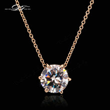 Double Fair Brand Simple OL Style 6 Claw Cubic Zirconia Necklaces & Pendants Rose Gold Color Chain Jewelry Gift For Women DFN431(China)