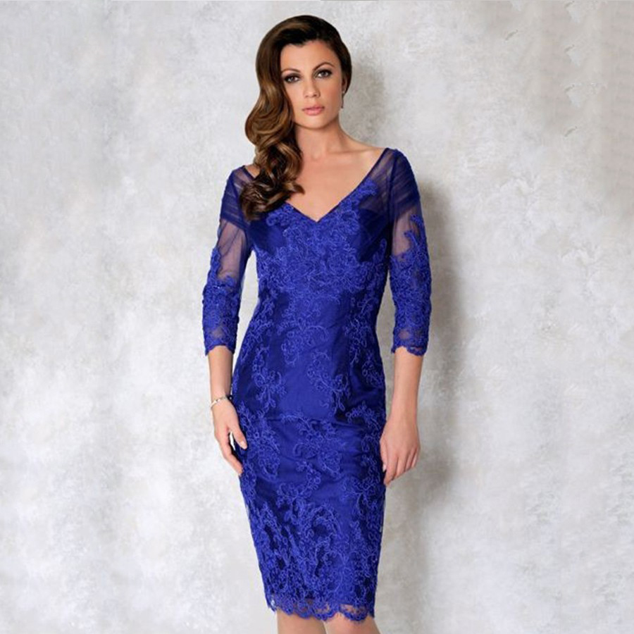 Fashion royal blue short mother of the bridal dress 2016 v for Royal blue short wedding dresses