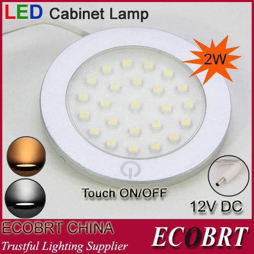 ECOBRT 12V stylish modern small led touch light lamps, round flat surface under cabinet lighting bulbs 10pcs/lot(China (Mainland))