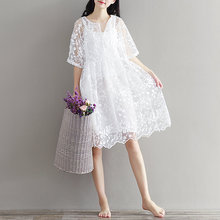 Buy Mori Girl Chiffon Dress White Color High Waist Embroidery Lace Women Dress Half Dress O Neck Two Pieces Plus Size XL for $15.92 in AliExpress store