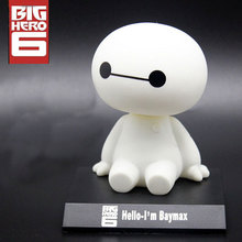 Free Shipping Cute 11cm Big Hero 6 Baymax Robot Bobble Head Shaking Head Toy Model Car Decoration PVC Action Figure original box