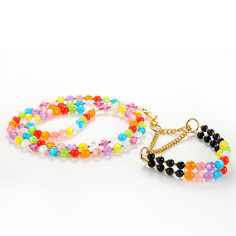 Pet dog CAT colorful pearl collar leash suit dogs collars leads set doggy Jewelry puppy necklace pet products 5 pcs/lot(China (Mainland))