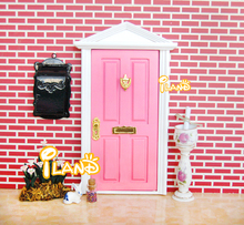 Free shipping 1:12 Dolls Miniature Wood Painted Fairy Door W/ Pink Outside Open(China (Mainland))