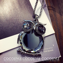 Buy Fashion Womens Necklaces Jewelry Trendy Charms Crystal Owl Necklace black Long Chain Animal Necklaces&Pendants 2017 Hot Sale for $2.05 in AliExpress store