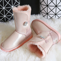 BLIVTIAE Luxury Brand Winter Australia Sheepskin Snow Boots Natural Wool Sheep Fur Boots Middle Crystal Button