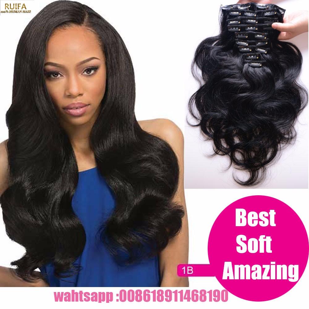 Malaysian Virgin Hair Natural Body Wave Clip In Human Hair Extensions Malaysian Hair Clip In Hair Extensions AliExpress Shipping