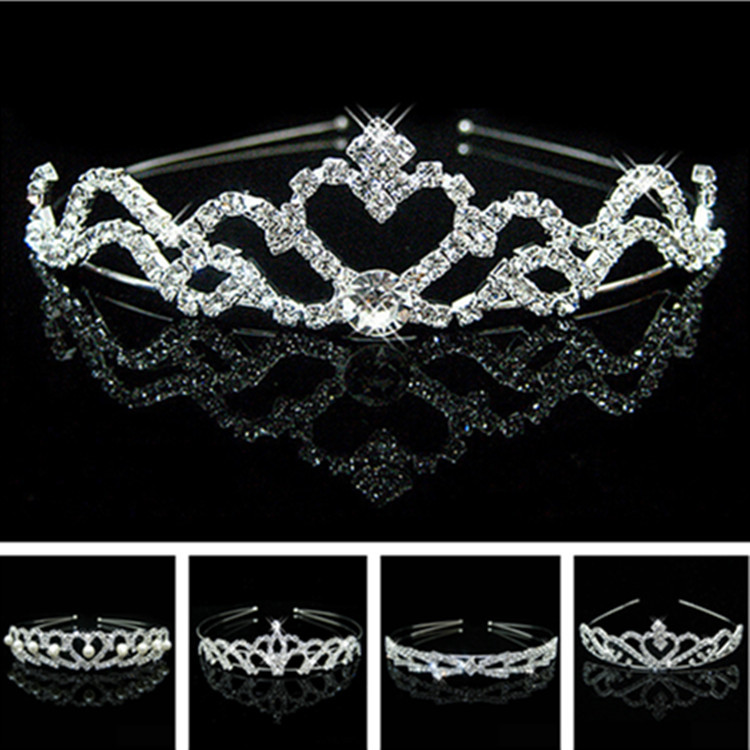 Wedding party pearl crystal wedding princess headband rhinestone pageant tiaras and crowns for brides Girls hair(China (Mainland))