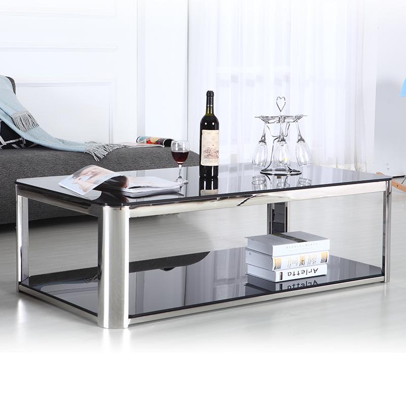 Acero inoxidable rectangular mesa de caf mesa de centro - Mesas acero y cristal ...