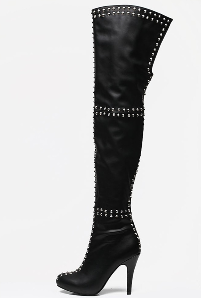 image plus size thigh high leather boots for
