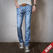New Summer men's denim trousers slim fit casual straight jeans male thin summer Full length classic cotton fabrics jeans