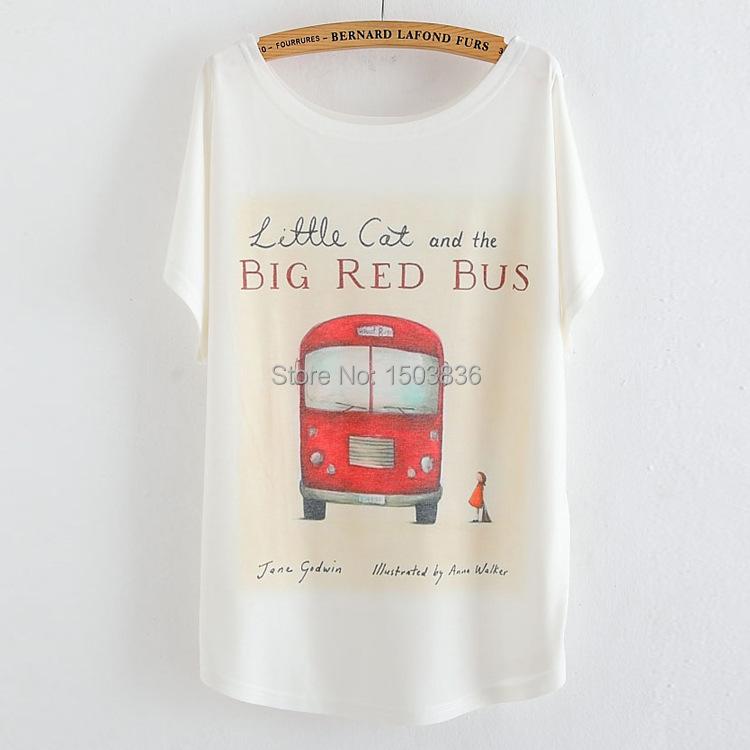 Tshirt Women Red Bus Printed Female Ladies' t-shirt Plus Size Summer Batwing Sleeve Ladies 2015 Fashion Style Women Top T Shirt(China (Mainland))