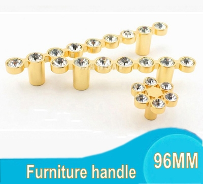 Gold Fashion 96MM Crystal Diamond Furniture Hardware Handle Door Drawer Wardrobe Kitchen Cabinets Cupboard Pull Knob Accessories(China (Mainland))