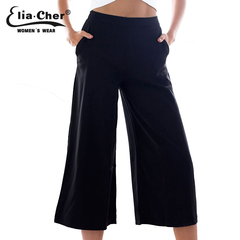 Sport Women Pants 2015 Eliacher Brand Plus Size Casual Summer Women Clothing Chic Loose Black Lady Capris Trousers Pant(China (Mainland))