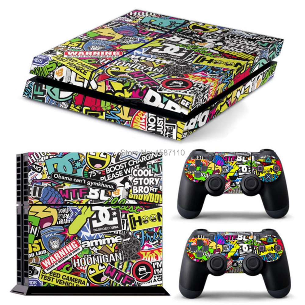 controller decal sticker skin set stickerbomb for sony ps4. Black Bedroom Furniture Sets. Home Design Ideas
