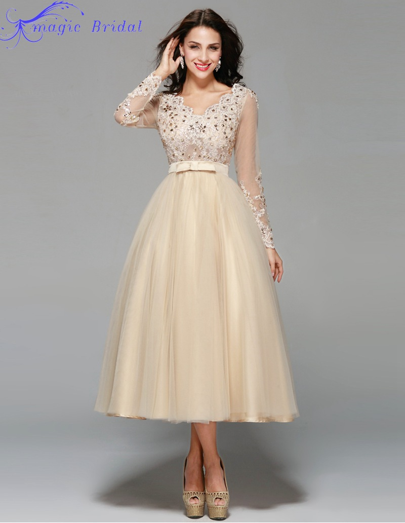 Vestido de noiva curto vintage lace tea length short for Elegant long sleeve wedding dresses