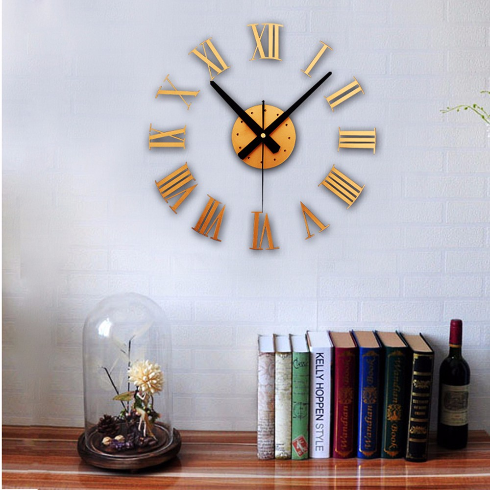 3d Diy Home Decor Large Roman Mirror Fashion Modern Quartz Clocks ...