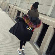 Coréen 2016 de mode de femmes vestes parka avec couleur de vrais fourrure capot de collier femelle long puffer manteau canada goode vers le bas noir xxl(China (Mainland))