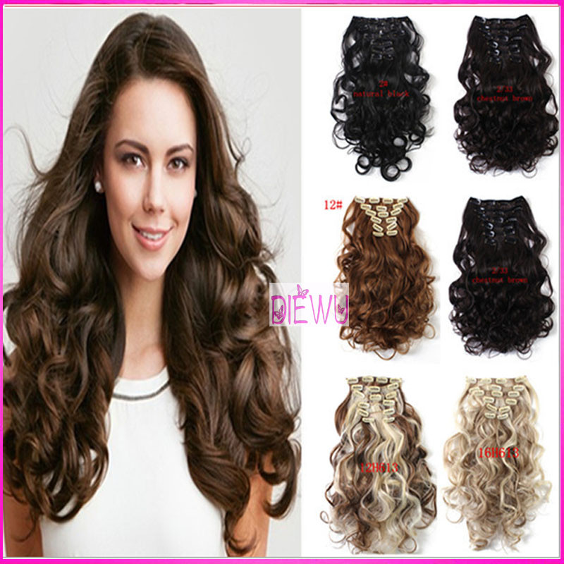 50cm 20Inch 7Pcs/set Natural Curly Wavy Clips On Hair Extension Heat Resistant Synthetic Hair Piece Clip In Hair Extensions(China (Mainland))