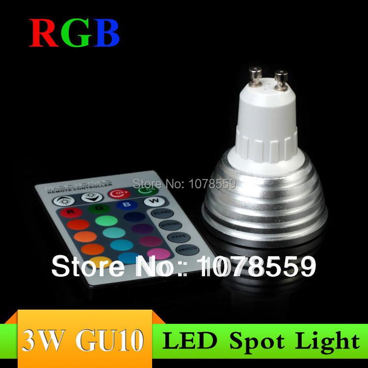 Wholesale 10Pcs 3W RGB Spotlight GU10 Dimmable light 16 colour High Tech LED Lamp Spot light + IR remote control Free shipping(China (Mainland))