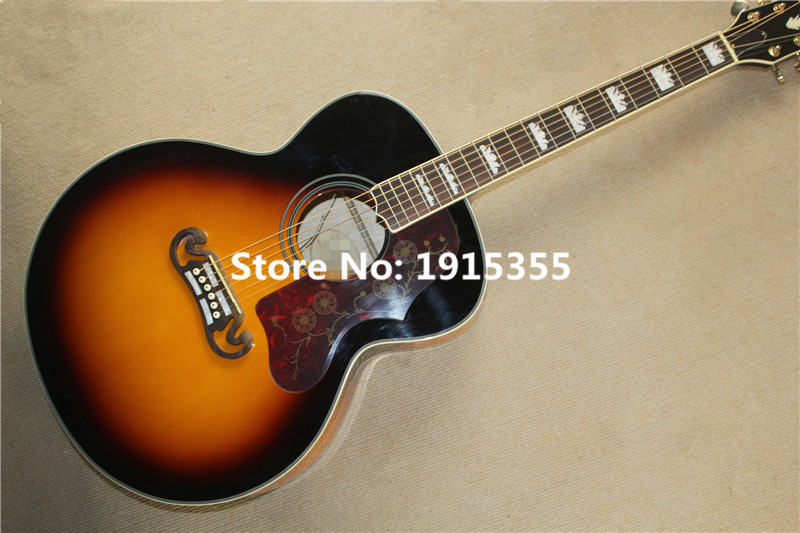 Factory custom 43 inch 20 frets tobacco sunburst acoustic guitar,can add LC-5 pickups,rosewood finger board colorful shell inlay(China (Mainland))