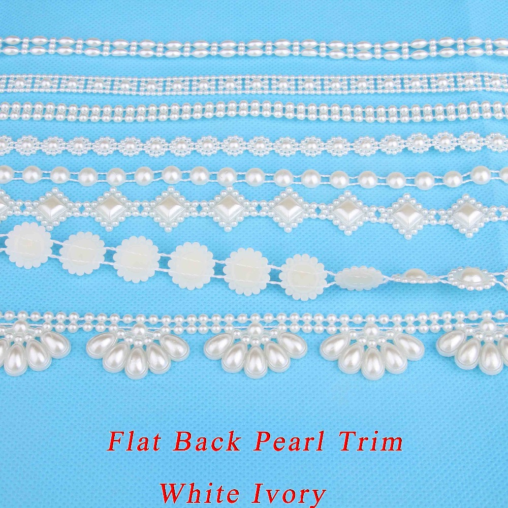 3-50mm Flat Back Plastic Pearl Trim White Roll Half Round Bead Sewing Rhinestones For Clothing Craft Wedding Decorative HE12(China (Mainland))