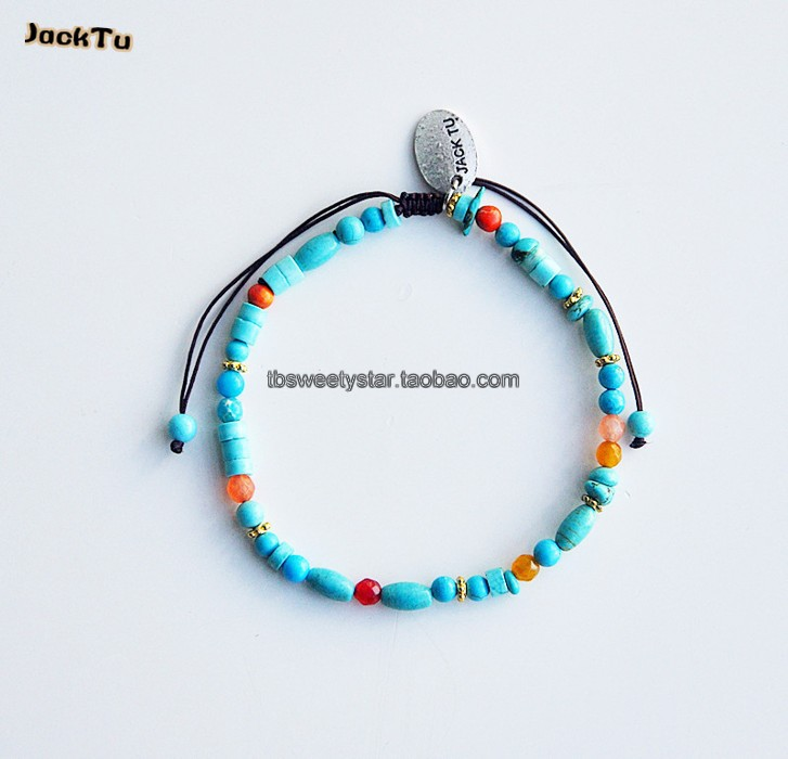 Jacktu popular turquoise mixed size brown nylon wrap bracelet design for kids(China (Mainland))