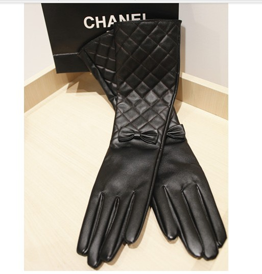 Sweet Women's Long Leather Gloves Plaid Bow Design Faux Ms. Sections - LittleDaisy store