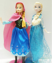 Hot Sales 2 Pieces High Quality 30cm Queen Elsa Princess Anna Doll Cute Cartoon Dolls Great Children's Day Gift Cute Kids Toys(China (Mainland))