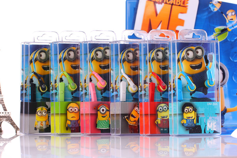 NEW cartoon in ear wired 3 5mm earphone headphone Despicable Me Minions model headset for MP3