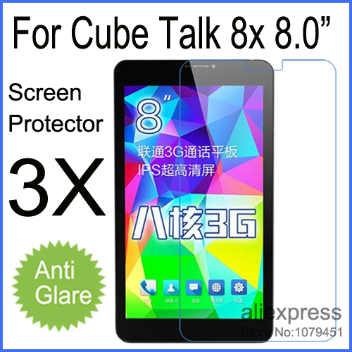 """3pcs Matte Anti-glare Screen Protector for Cube Talk 8X U27GT-C8 8.0"""" Tablet PC Protective Film Free Shipping(China (Mainland))"""