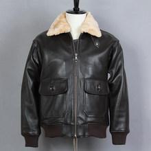 Avirex fly меховым воротником из натуральной кожи куртка Для мужчин из коровьей кожи G1 ВВС полета куртка Курточка Бомбер мужской зимнее пальто(China)