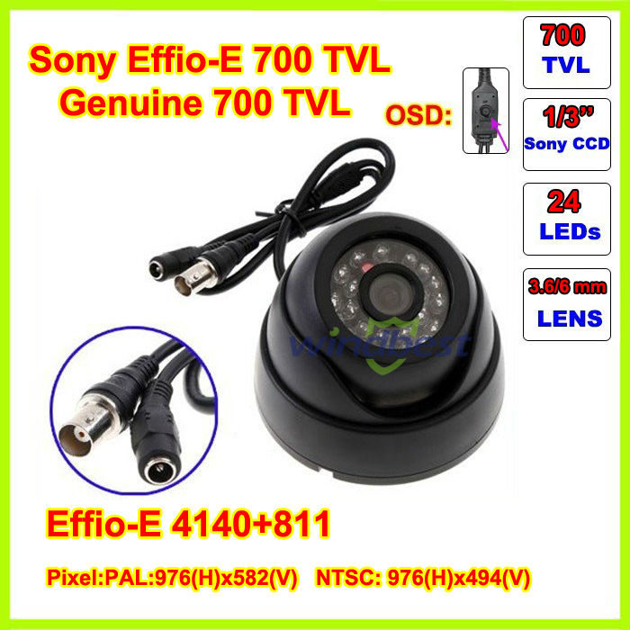 Freeshipping 4PCS/Lot  Surveillance 24 IR LED 1/3 SONY Effio-E 700TVLCCD 3.6mm IR Indoor Security Mini Dome CCTV Camera<br><br>Aliexpress