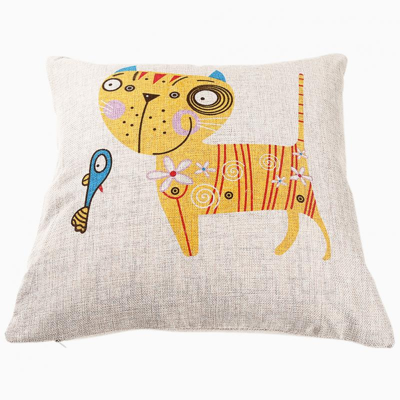 New Cotton Linen Pillow Case Cartoon Cat with Fish Print Sofa Cushion Cover Home Decor
