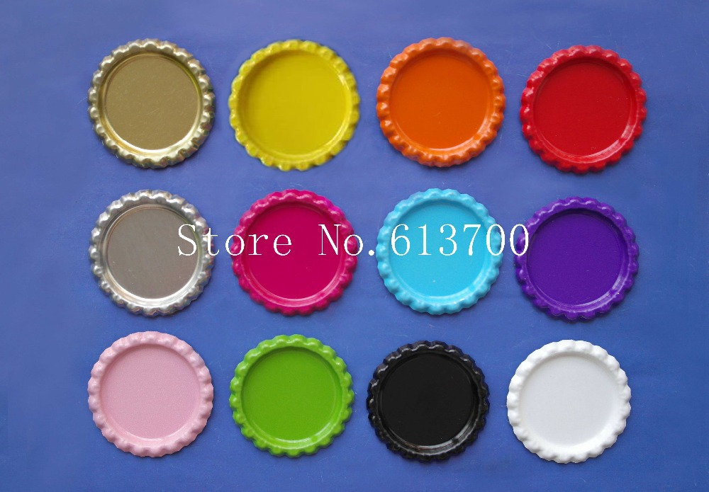 1200pcs/lot colored 1 inch 25mm flattened bottle caps for bows Flat Metal Bottle Caps necklace accessories mix 12colors(China (Mainland))