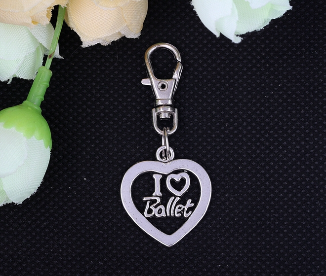 I Love Ballet Heart Charms Keychain Vintage Silver Key Chain Ring For Gift Car Bag Key Ring Handbag  DIY Jewelry 40PCS S245<br><br>Aliexpress