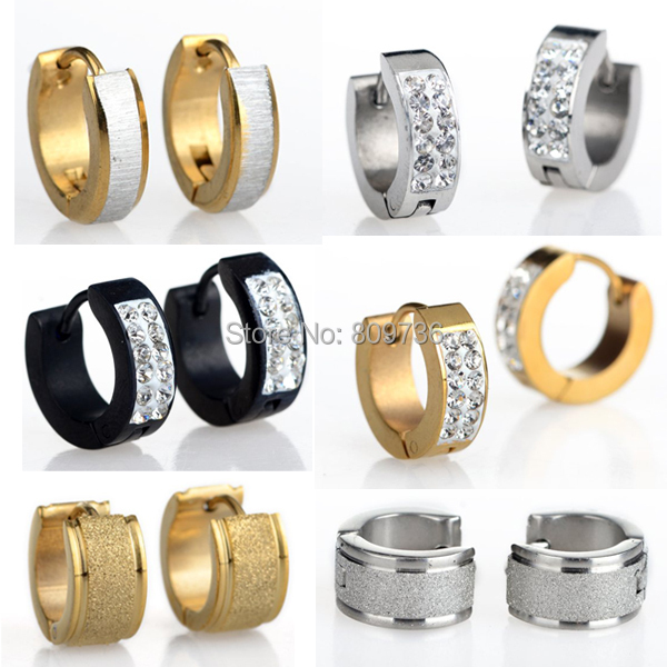 1Pair Crystal 316L Stainless Steel Hoop Huggie Earrings Gauges Hot Punk Mens Women Gold Silver Plated Chic Jewelry Drop Free(China (Mainland))