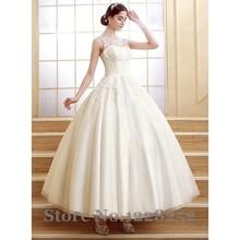 Vintage Lace Wedding Dresses Scoop Illusion Appliqued Ivory Bridal Wedding Dress Ball Gown Ankle Length Vestidos De Novia sexy(China (Mainland))