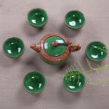 2014 Chinese Crackle Glaze Kung Fu tea set Special Dehua ice to Crack Six Cup Of