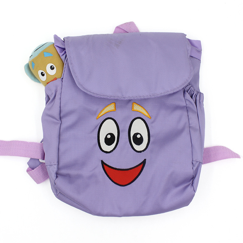 Hot Sale Dora The Explorer Backpack Nylon Purple Fashion Cartoon Bags for Kids Kindergarden Daily Use Child School Dora Bags(China (Mainland))