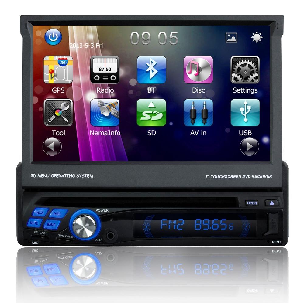 "Hot sale 7"" Single 1 DIN Car DVD Player autoradio GPS with Touch screen Radio bluetooth steering wheel control DVD/CD MP3(China (Mainland))"