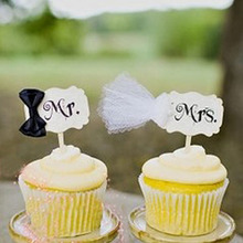 Buy 20Pcs Mr & Mrs Topper cupcake Cake Inserted Card Wedding Cake Stand Birthday Party Decorations Bakery Supplies for $14.44 in AliExpress store