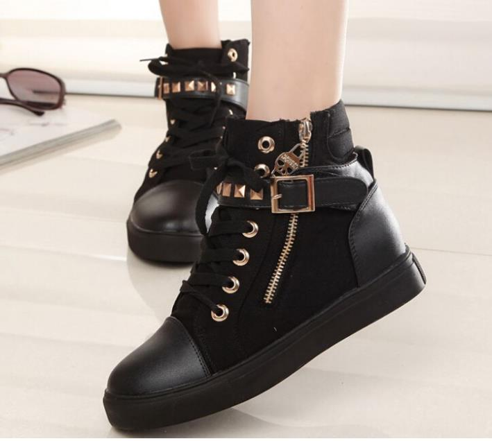 2014 new fashion ladies student women Shoes leather canvas rivets Flats white wedges Ankle designer autumn boots Women - China shoes clothing EXport LTD store