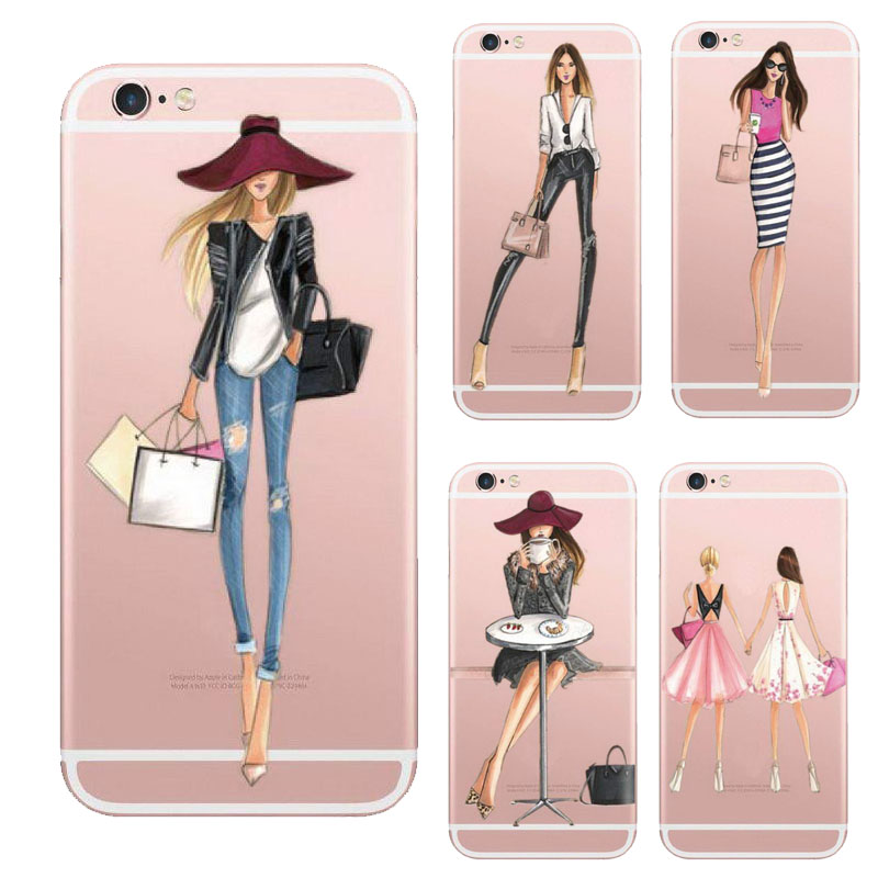 Coque For Iphone 6 Fashionable Dress Shopping Girl Phone Cover For Iphone 6 6s Case Clear Transparent Soft Silicone Rubber Case(China (Mainland))
