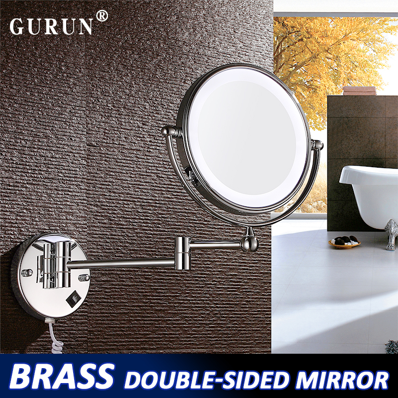 GuRun Round wall mount  make up mirror with lights Bathroom LED double faced Mirror magnifying make-up mirror Cosmetic S1805D