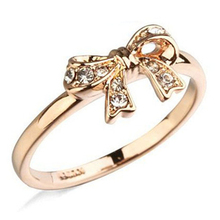 ITALINA Brand 18K Champagne Gold Plated AAA+ Cubic Zircon Diamond Bow Rings For Women Party Wedding Engagement Jewelry(China (Mainland))