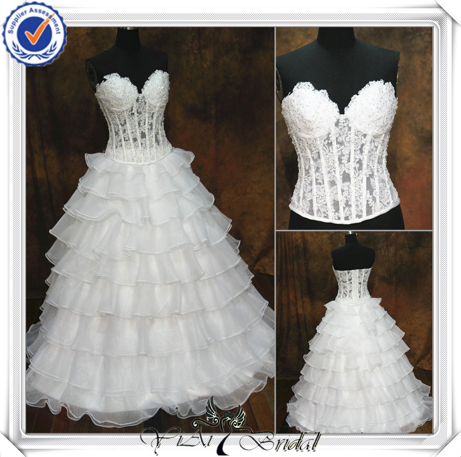 Jj0097 newest beaded top and skirt separated see through for See through corset top wedding dress