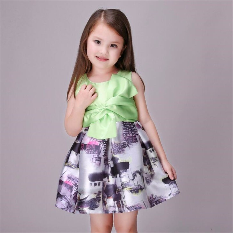 Fashion Baby Girl Dress Kids Print Bow Princess Clothes Children Party Dress Girl Teenagers Floral Vestido Of 3-11Y WHOSEBABY(China (Mainland))