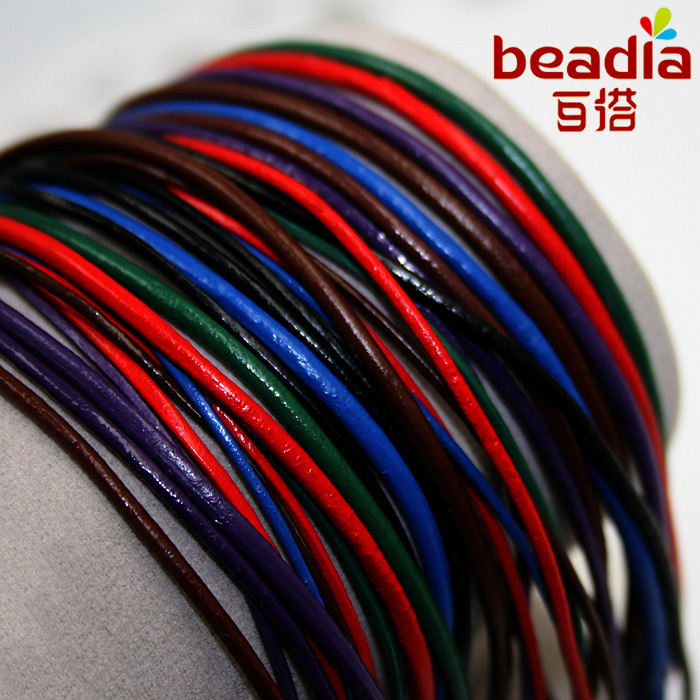 Free shipping 1mm Genuine Leather Cord Jewelry Findings for Bracelet & Necklace Making 1m/pack(5packs/lot)(China (Mainland))