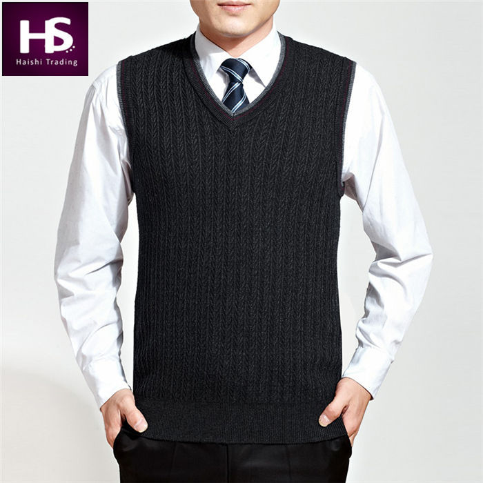 High Quality 2015 New Arrival Autumn Winter Wool Vest Men Cashmere Sweater Men Casual Vests Mens Sweaters Pullover Men Brand OEM(China (Mainland))